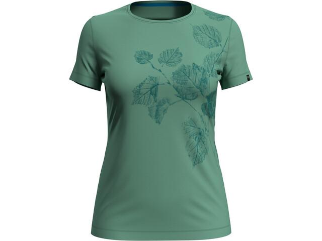 Odlo Kumano Print Crewneck T-shirt Dames, creme de menthe/flower leaf